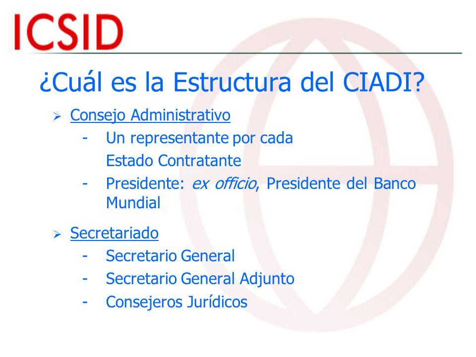Funciones Consejo Administrativo - -Elige al S-G y al S-G Adjunto - -Adopta: - - La Reglamentación y Reglas del CIADI - - El Presupuesto Anual del CIADI Secretario General - -Actúa como representante legal del CIADI - -Responsable de administrar el Centro - -Supervisa el registro de los casos bajo el Convenio CIADI