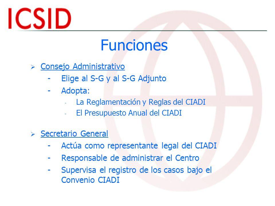 Funciones Consejo Administrativo - -Elige al S-G y al S-G Adjunto - -Adopta: - - La Reglamentación y Reglas del CIADI - - El Presupuesto Anual del CIA