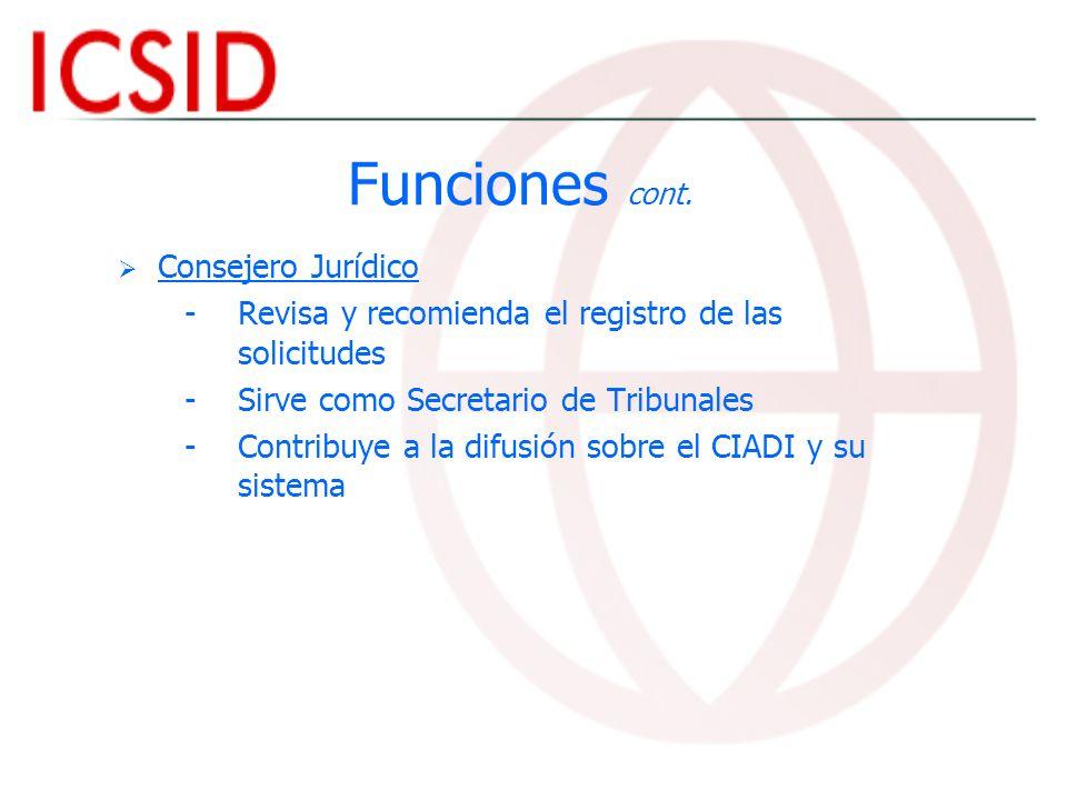 Funciones cont. Consejero Jurídico - -Revisa y recomienda el registro de las solicitudes - -Sirve como Secretario de Tribunales - -Contribuye a la dif