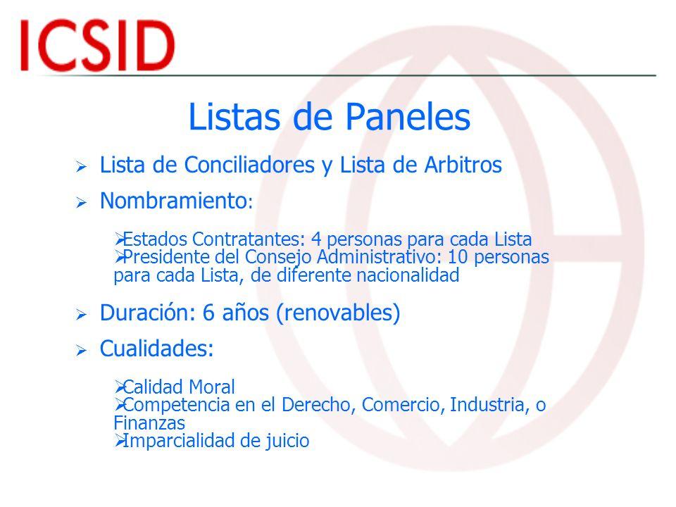 Listas de Paneles Lista de Conciliadores y Lista de Arbitros Nombramiento : Estados Contratantes: 4 personas para cada Lista Presidente del Consejo Ad