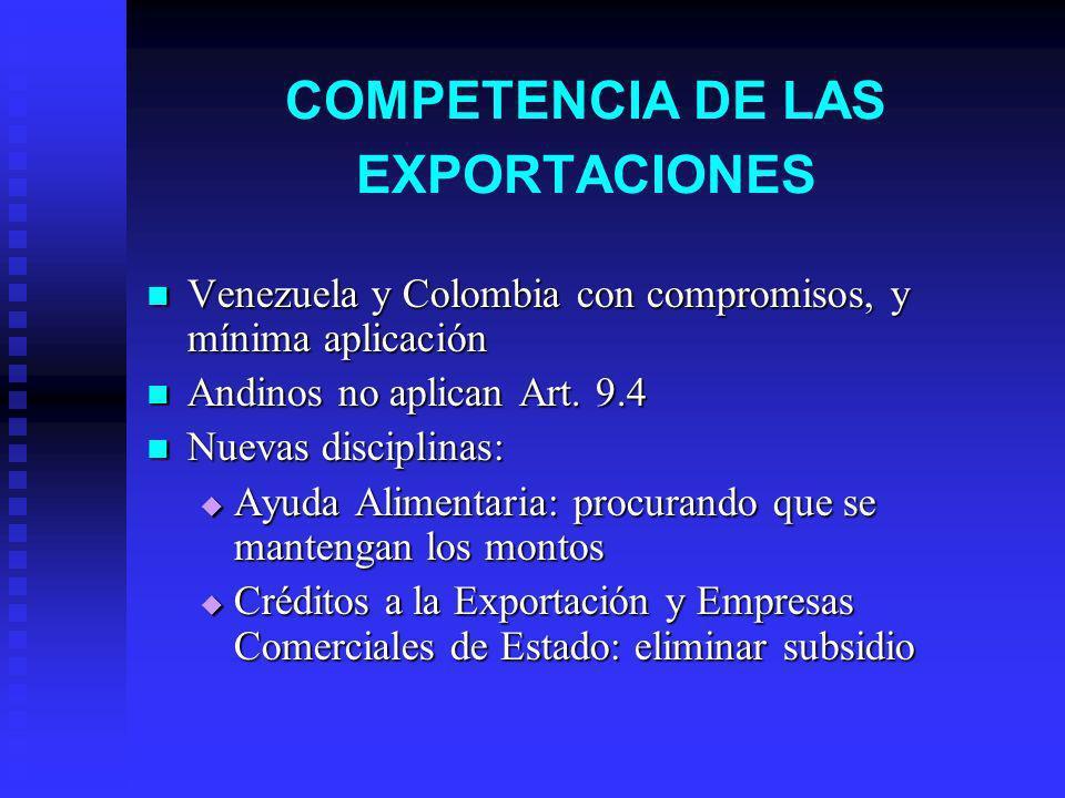 COMPETENCIA DE LAS EXPORTACIONES Venezuela y Colombia con compromisos, y mínima aplicación Venezuela y Colombia con compromisos, y mínima aplicación Andinos no aplican Art.