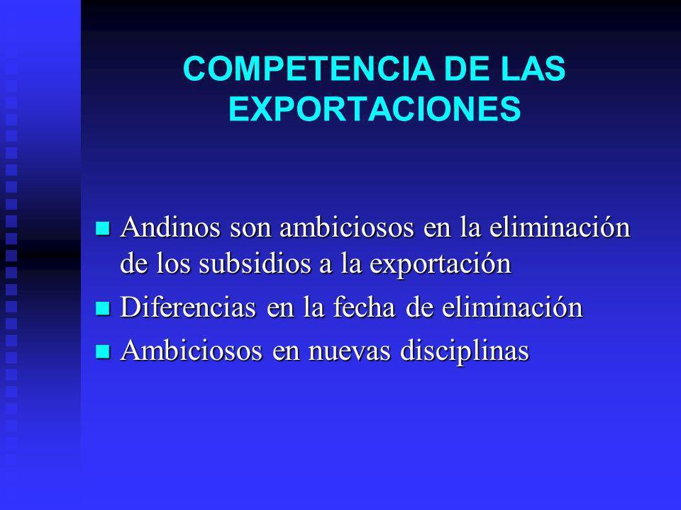 COMPETENCIA DE LAS EXPORTACIONES Andinos son ambiciosos en la eliminación de los subsidios a la exportación Andinos son ambiciosos en la eliminación de los subsidios a la exportación Diferencias en la fecha de eliminación Diferencias en la fecha de eliminación Ambiciosos en nuevas disciplinas Ambiciosos en nuevas disciplinas