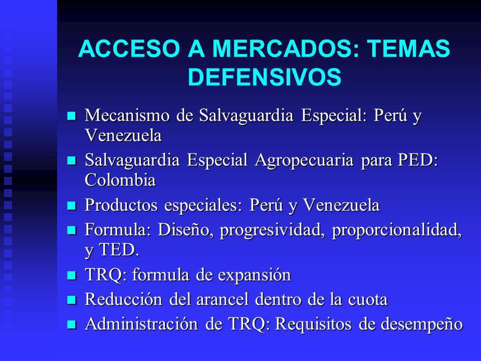 ACCESO A MERCADOS: TEMAS DEFENSIVOS Mecanismo de Salvaguardia Especial: Perú y Venezuela Mecanismo de Salvaguardia Especial: Perú y Venezuela Salvaguardia Especial Agropecuaria para PED: Colombia Salvaguardia Especial Agropecuaria para PED: Colombia Productos especiales: Perú y Venezuela Productos especiales: Perú y Venezuela Formula: Diseño, progresividad, proporcionalidad, y TED.