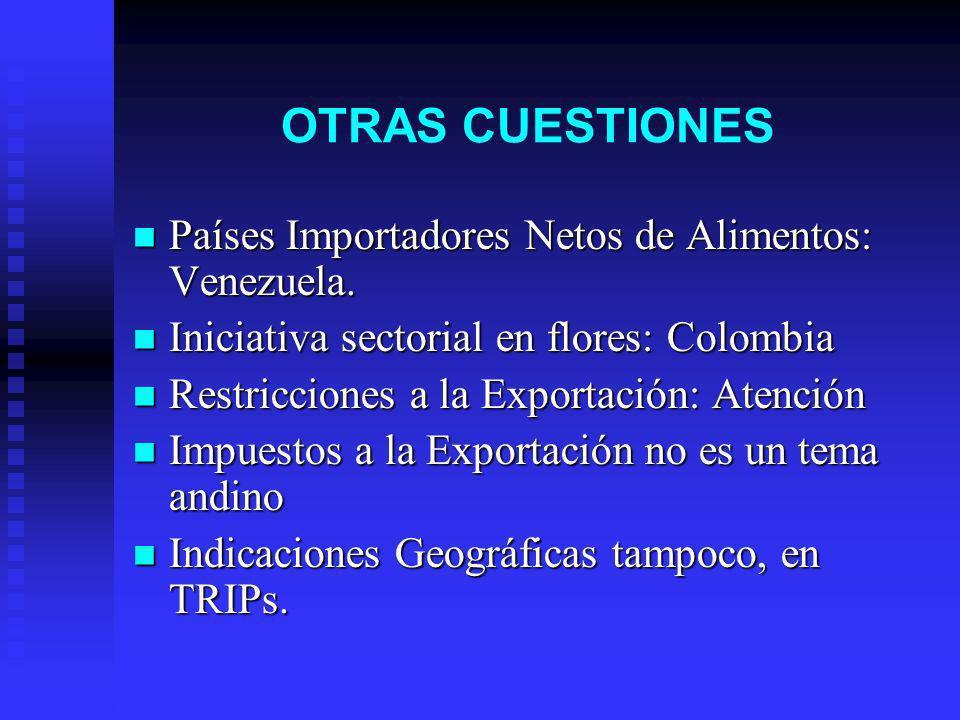 OTRAS CUESTIONES Países Importadores Netos de Alimentos: Venezuela. Países Importadores Netos de Alimentos: Venezuela. Iniciativa sectorial en flores:
