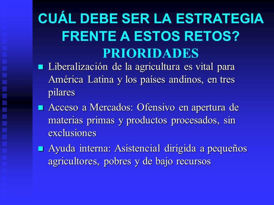 CUÁL DEBE SER LA ESTRATEGIA FRENTE A ESTOS RETOS? PRIORIDADES Liberalización de la agricultura es vital para América Latina y los países andinos, en t