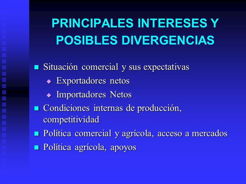 PRINCIPALES INTERESES Y POSIBLES DIVERGENCIAS Situación comercial y sus expectativas Situación comercial y sus expectativas Exportadores netos Exporta