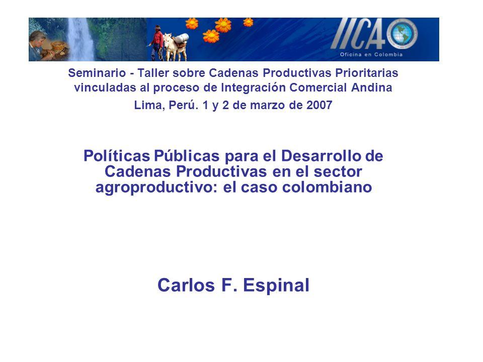 Contenido 1.Contexto social económico y político del país 2.La Política de Competitividad de Colombia 3.Cadenas, Acuerdos de Competitividad, Alianzas Productivas y Organizaciones de Cadena en el Sector Agroproductivo.