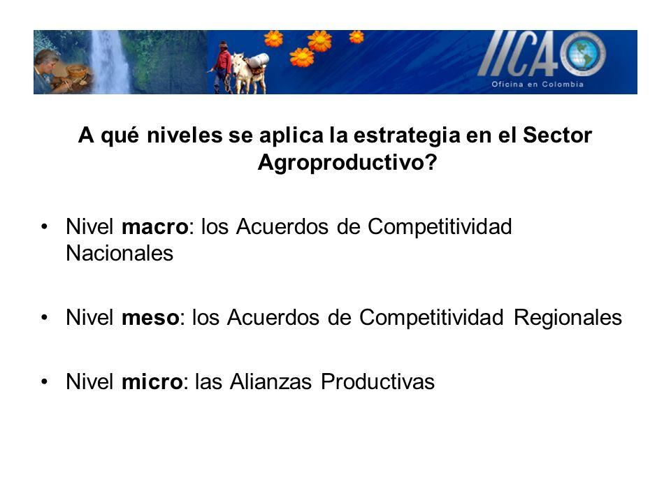A qué niveles se aplica la estrategia en el Sector Agroproductivo? Nivel macro: los Acuerdos de Competitividad Nacionales Nivel meso: los Acuerdos de