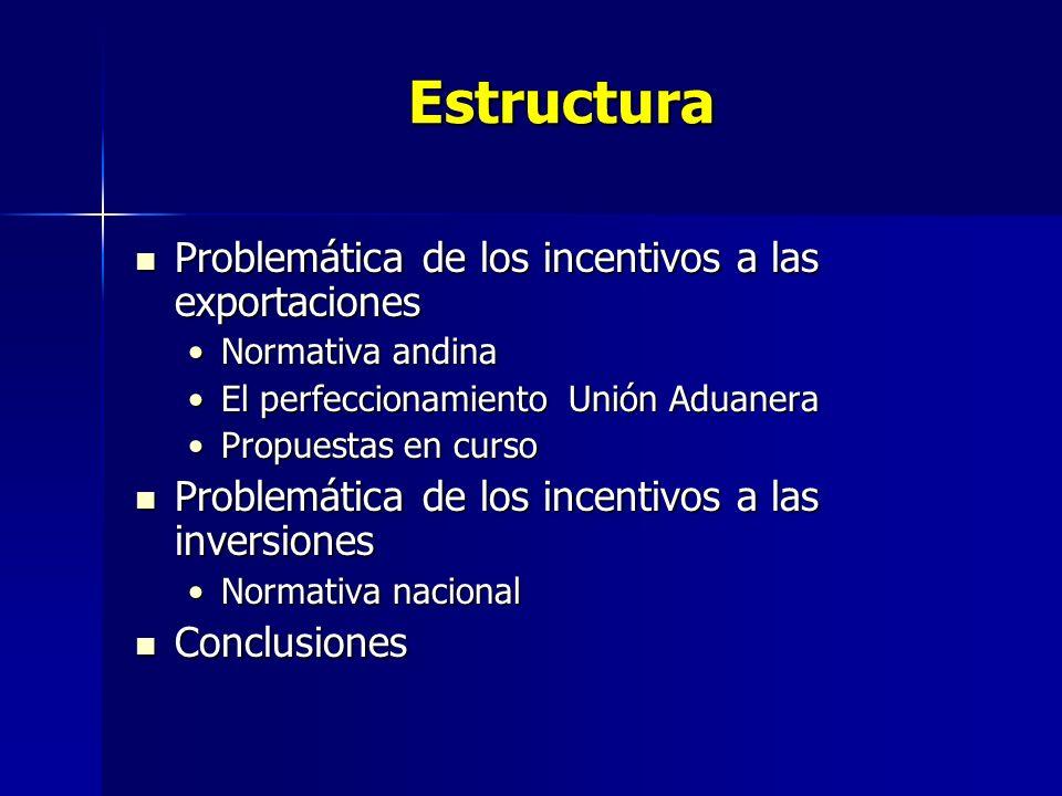 Estructura Problemática de los incentivos a las exportaciones Problemática de los incentivos a las exportaciones Normativa andinaNormativa andina El p