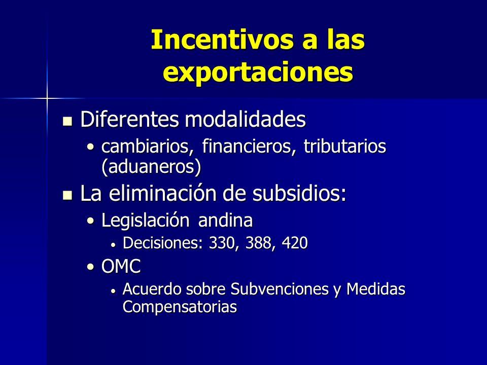 Incentivos a las exportaciones Diferentes modalidades Diferentes modalidades cambiarios, financieros, tributarios (aduaneros)cambiarios, financieros,