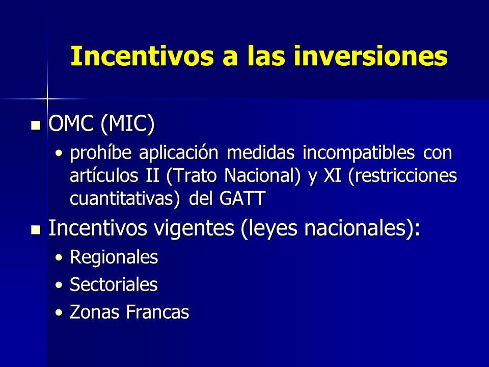 Incentivos a las inversiones OMC (MIC) OMC (MIC) prohíbe aplicación medidas incompatibles con artículos II (Trato Nacional) y XI (restricciones cuanti