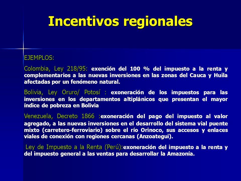 Incentivos regionales EJEMPLOS: Colombia, Ley 218/95: Colombia, Ley 218/95: exención del 100 % del impuesto a la renta y complementarios a las nuevas inversiones en las zonas del Cauca y Huila afectadas por un fenómeno natural.