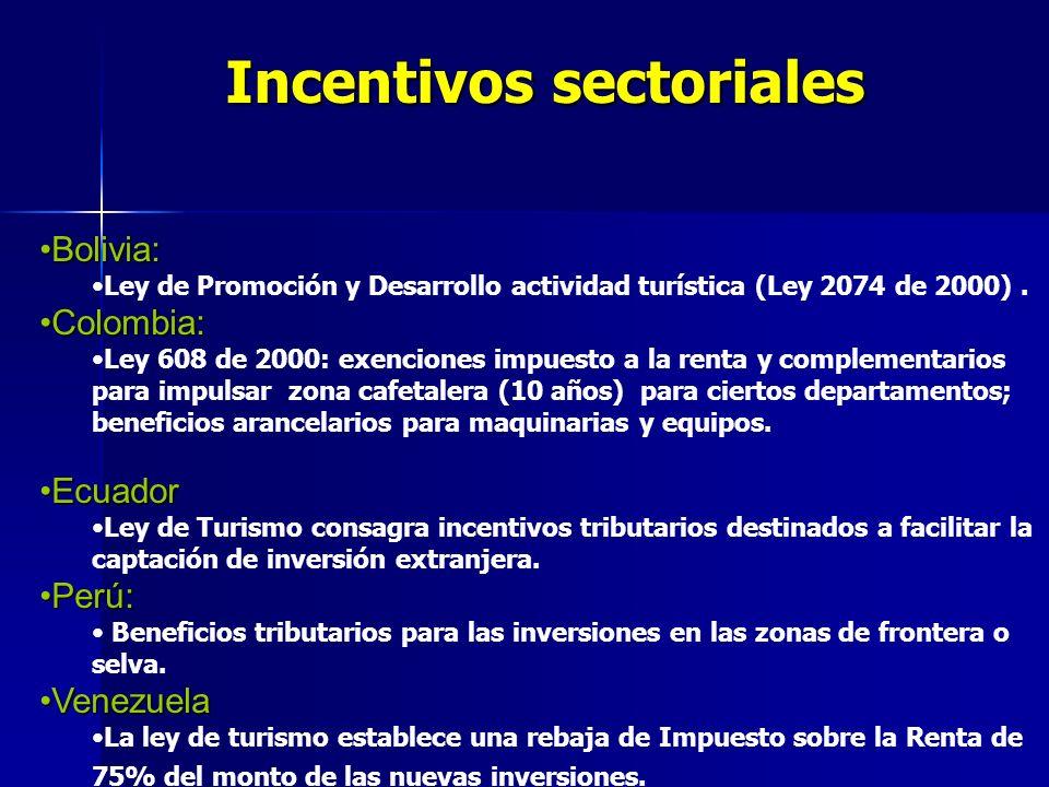 Incentivos sectoriales Bolivia:Bolivia: Ley de Promoción y Desarrollo actividad turística (Ley 2074 de 2000). Colombia:Colombia: Ley 608 de 2000: exen