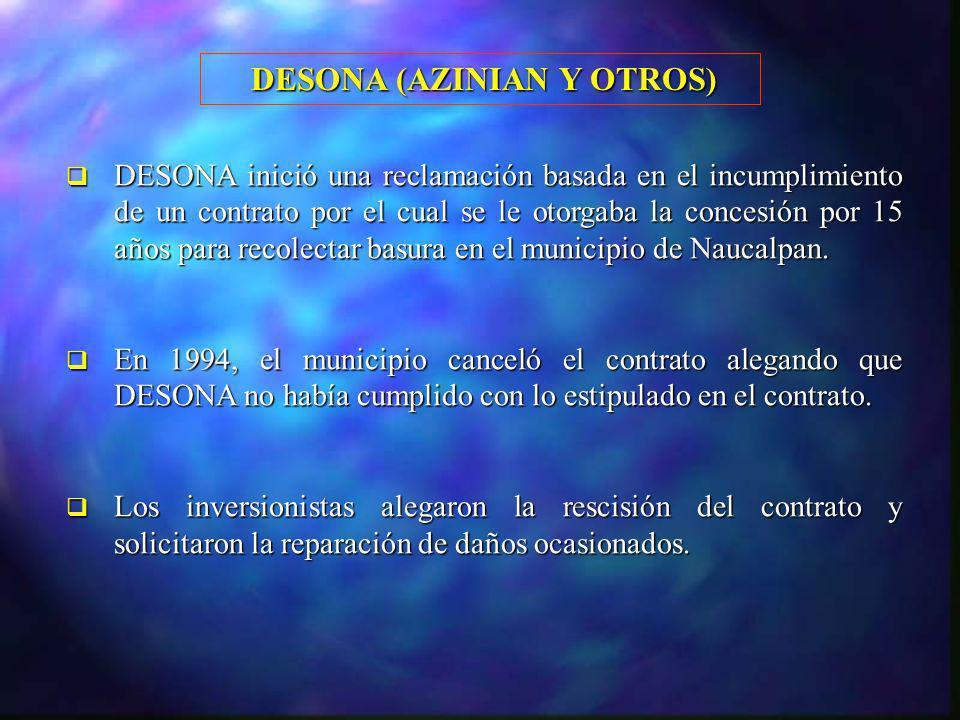 DESONA (AZINIAN Y OTROS) DESONA (AZINIAN Y OTROS) DESONA inició una reclamación basada en el incumplimiento de un contrato por el cual se le otorgaba