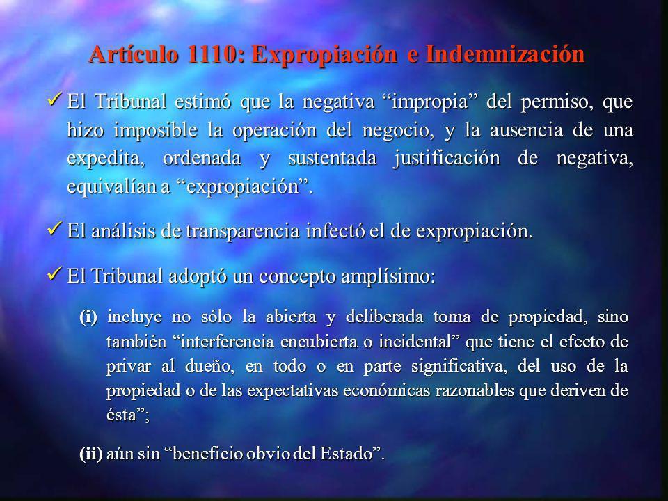 En SD Myers, el Tribunal señaló que el cuerpo general de jurisprudencia no trata las acciones regulatorias como expropiación.