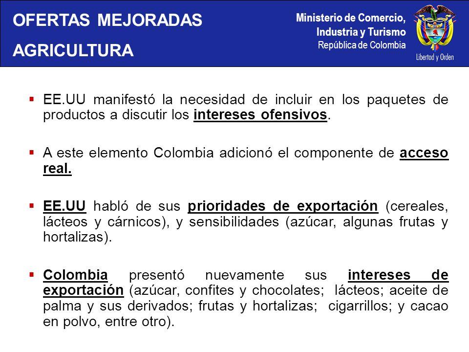 Ministerio de Comercio, Industria y Turismo República de Colombia EE.UU manifestó la necesidad de incluir en los paquetes de productos a discutir los intereses ofensivos.