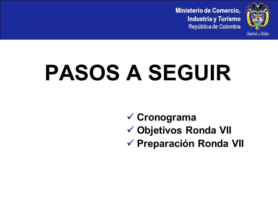 Ministerio de Comercio, Industria y Turismo República de Colombia PASOS A SEGUIR Cronograma Objetivos Ronda VII Preparación Ronda VII