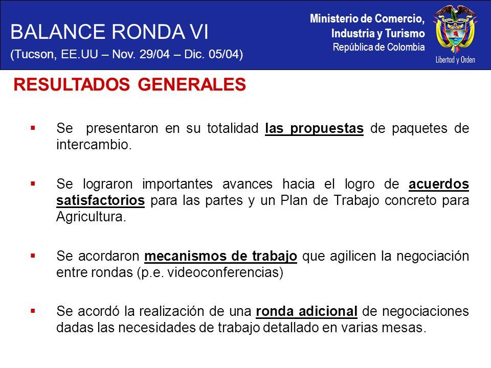 Ministerio de Comercio, Industria y Turismo República de Colombia Se presentaron en su totalidad las propuestas de paquetes de intercambio.