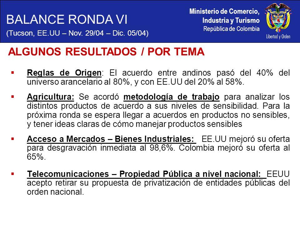 Ministerio de Comercio, Industria y Turismo República de Colombia Reglas de Origen: El acuerdo entre andinos pasó del 40% del universo arancelario al 80%, y con EE.UU del 20% al 58%.
