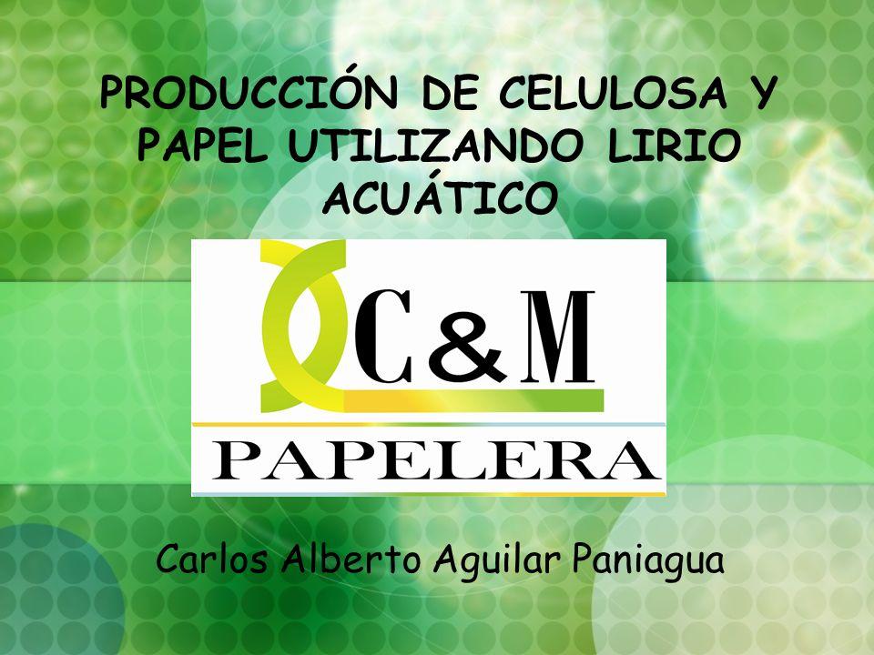 PRODUCCIÓN DE CELULOSA Y PAPEL UTILIZANDO LIRIO ACUÁTICO Carlos Alberto Aguilar Paniagua