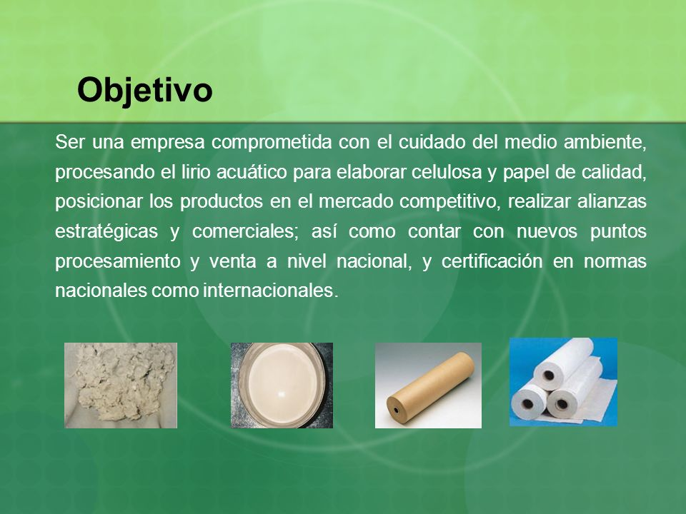 Objetivo Ser una empresa comprometida con el cuidado del medio ambiente, procesando el lirio acuático para elaborar celulosa y papel de calidad, posic