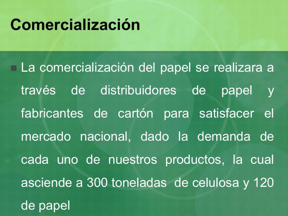Comercialización La comercialización del papel se realizara a través de distribuidores de papel y fabricantes de cartón para satisfacer el mercado nac