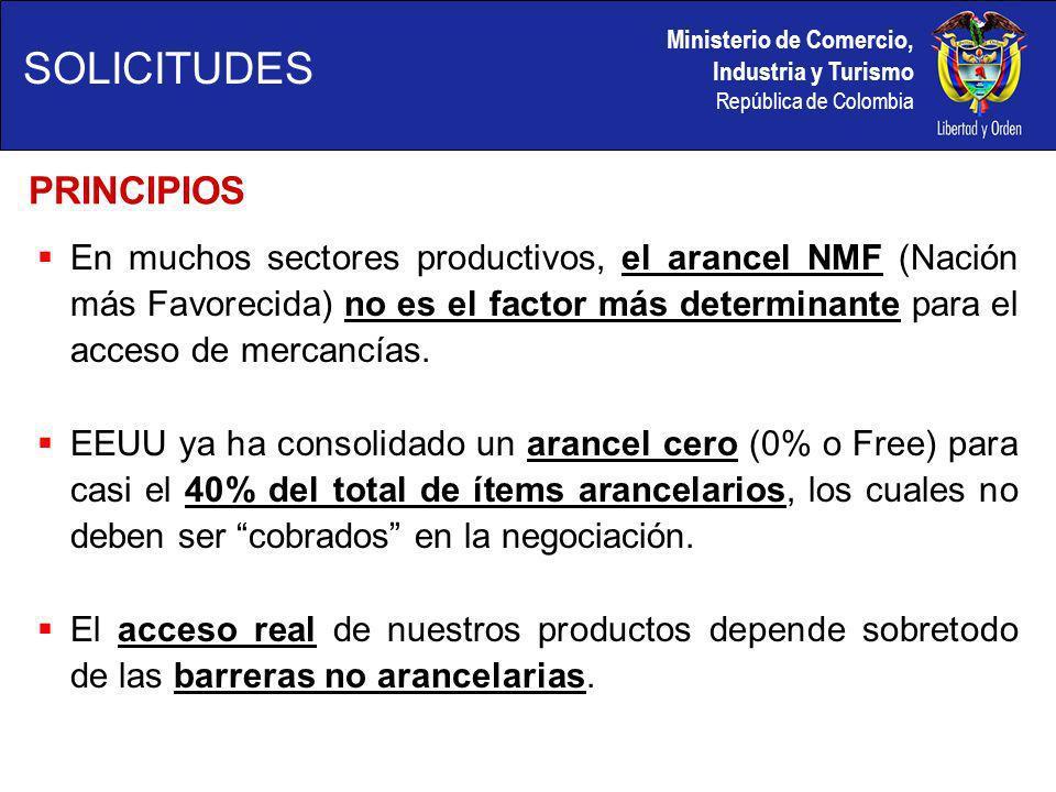 Ministerio de Comercio, Industria y Turismo República de Colombia En muchos sectores productivos, el arancel NMF (Nación más Favorecida) no es el factor más determinante para el acceso de mercancías.