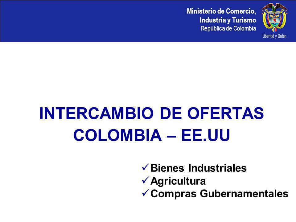 Ministerio de Comercio, Industria y Turismo República de Colombia INTERCAMBIO DE OFERTAS COLOMBIA – EE.UU Bienes Industriales Agricultura Compras Gubernamentales