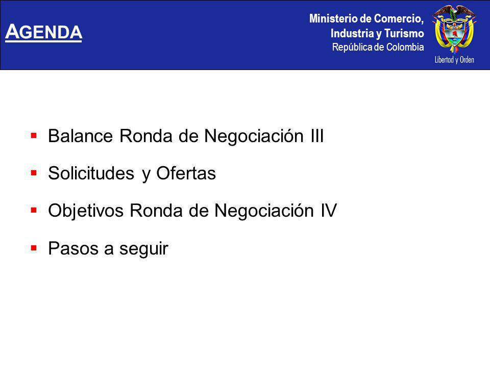 Ministerio de Comercio, Industria y Turismo República de Colombia BALANCE RONDA III (Lima – Julio 26/30, 2004)