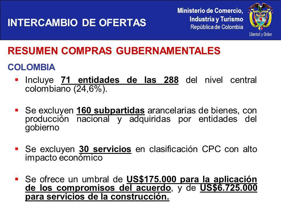 Ministerio de Comercio, Industria y Turismo República de Colombia COLOMBIA RESUMEN COMPRAS GUBERNAMENTALES INTERCAMBIO DE OFERTAS Incluye 71 entidades de las 288 del nivel central colombiano (24,6%).