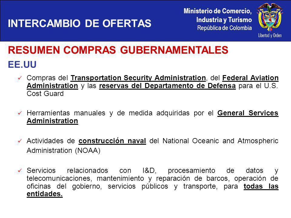 Ministerio de Comercio, Industria y Turismo República de Colombia EE.UU INTERCAMBIO DE OFERTAS Compras del Transportation Security Administration, del Federal Aviation Administration y las reservas del Departamento de Defensa para el U.S.