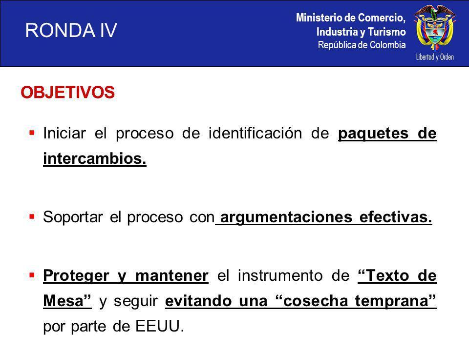 Ministerio de Comercio, Industria y Turismo República de Colombia OBJETIVOS Iniciar el proceso de identificación de paquetes de intercambios.