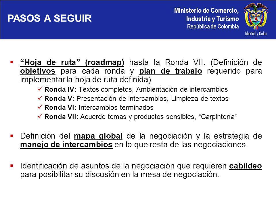 Ministerio de Comercio, Industria y Turismo República de Colombia Hoja de ruta (roadmap) hasta la Ronda VII.