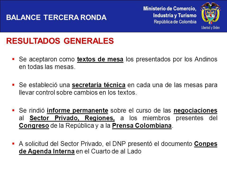 Ministerio de Comercio, Industria y Turismo República de Colombia Se intercambiaron listas de medidas disconformes en servicios e inversión.