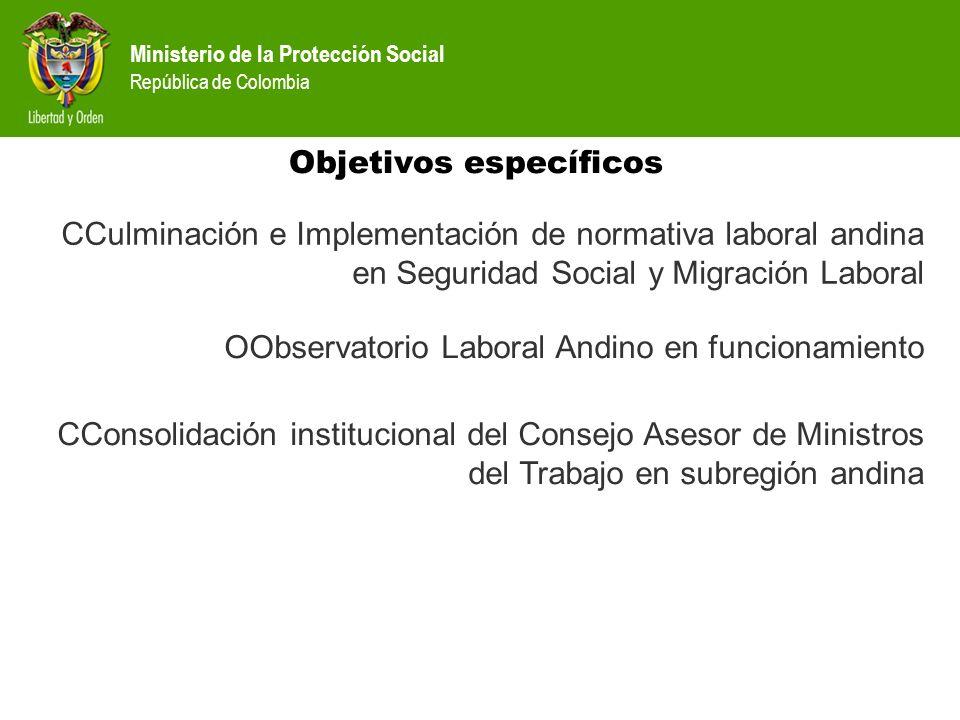 Ministerio de la Protección Social República de Colombia Objetivos específicos CConsolidación institucional del Consejo Asesor de Ministros del Trabaj