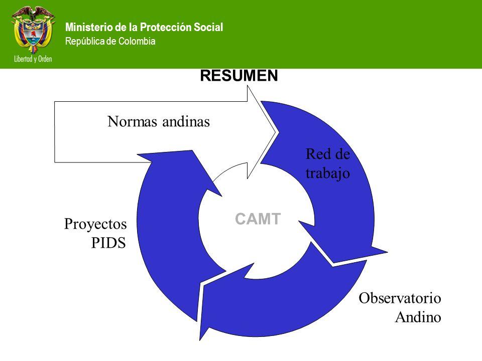 Ministerio de la Protección Social República de Colombia RESUMEN CAMT Normas andinas Red de trabajo Observatorio Andino Proyectos PIDS
