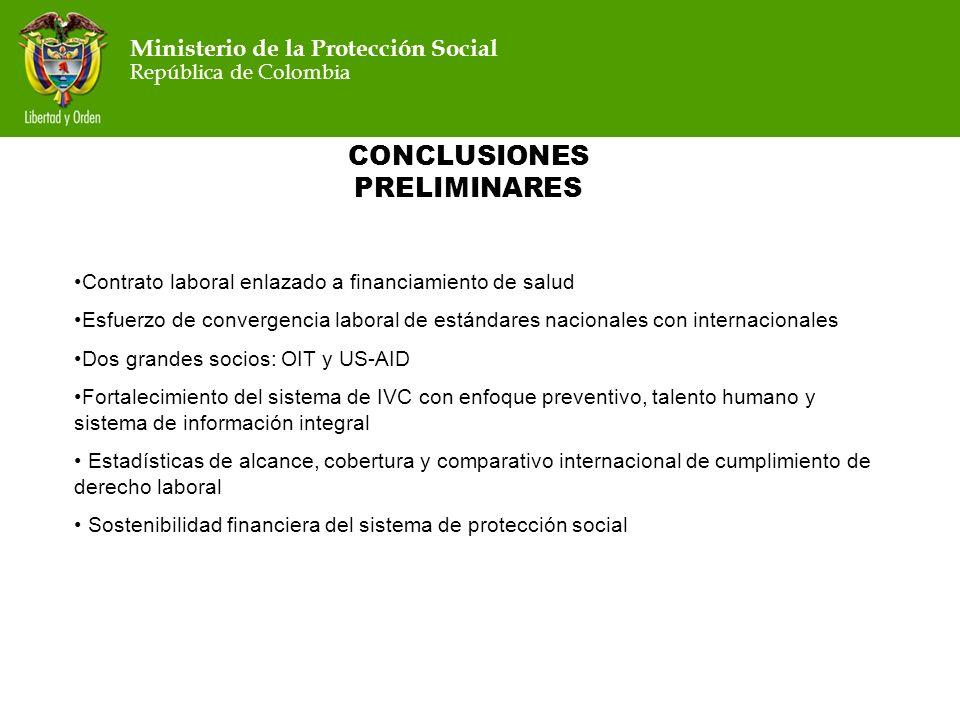 Ministerio de la Protección Social República de Colombia Ministerio de la Protección Social República de Colombia CONCLUSIONES PRELIMINARES Contrato l