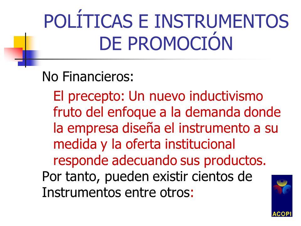 POLÍTICAS E INSTRUMENTOS DE PROMOCIÓN No Financieros: El precepto: Un nuevo inductivismo fruto del enfoque a la demanda donde la empresa diseña el ins