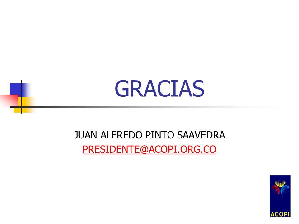GRACIAS JUAN ALFREDO PINTO SAAVEDRA PRESIDENTE@ACOPI.ORG.CO