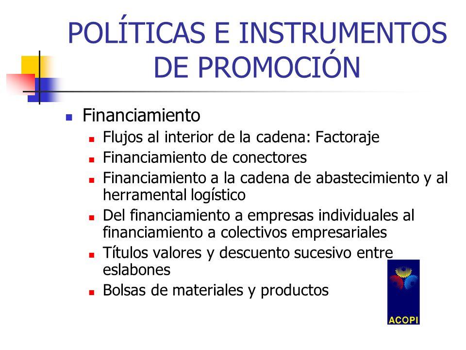 POLÍTICAS E INSTRUMENTOS DE PROMOCIÓN Financiamiento Flujos al interior de la cadena: Factoraje Financiamiento de conectores Financiamiento a la caden