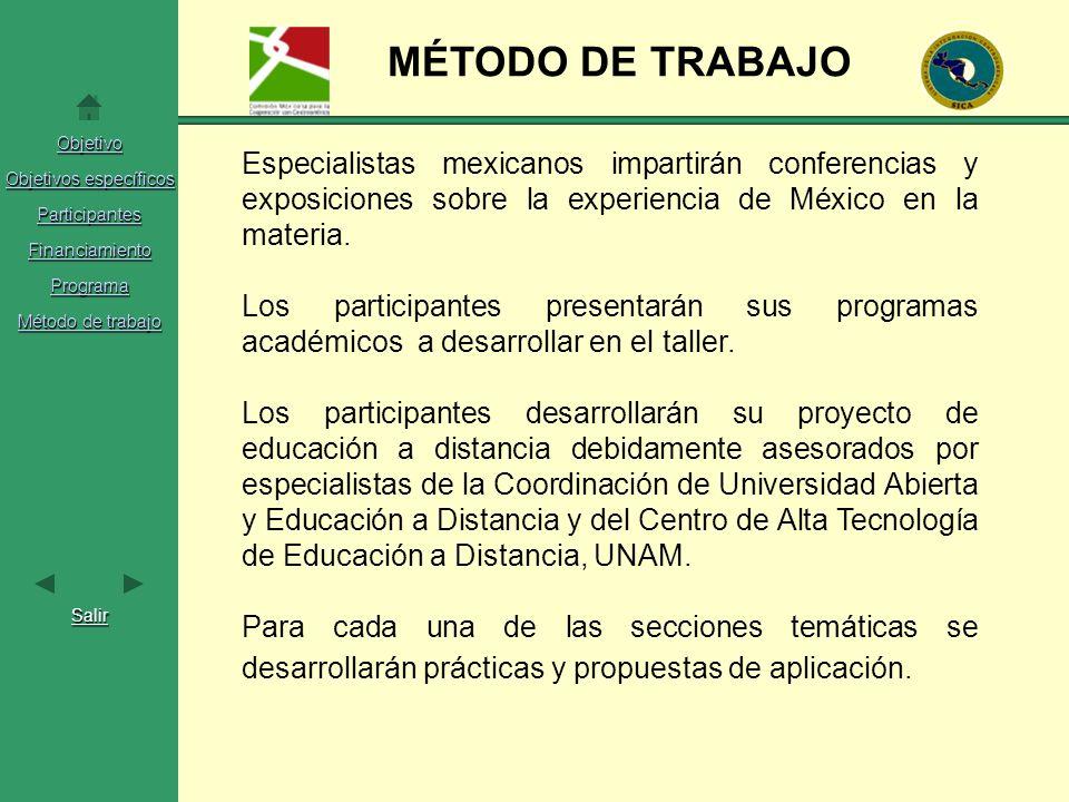 Objetivo Objetivos específicos Objetivos específicos Participantes Financiamiento Programa Método de trabajo Método de trabajo Salir MÉTODO DE TRABAJO