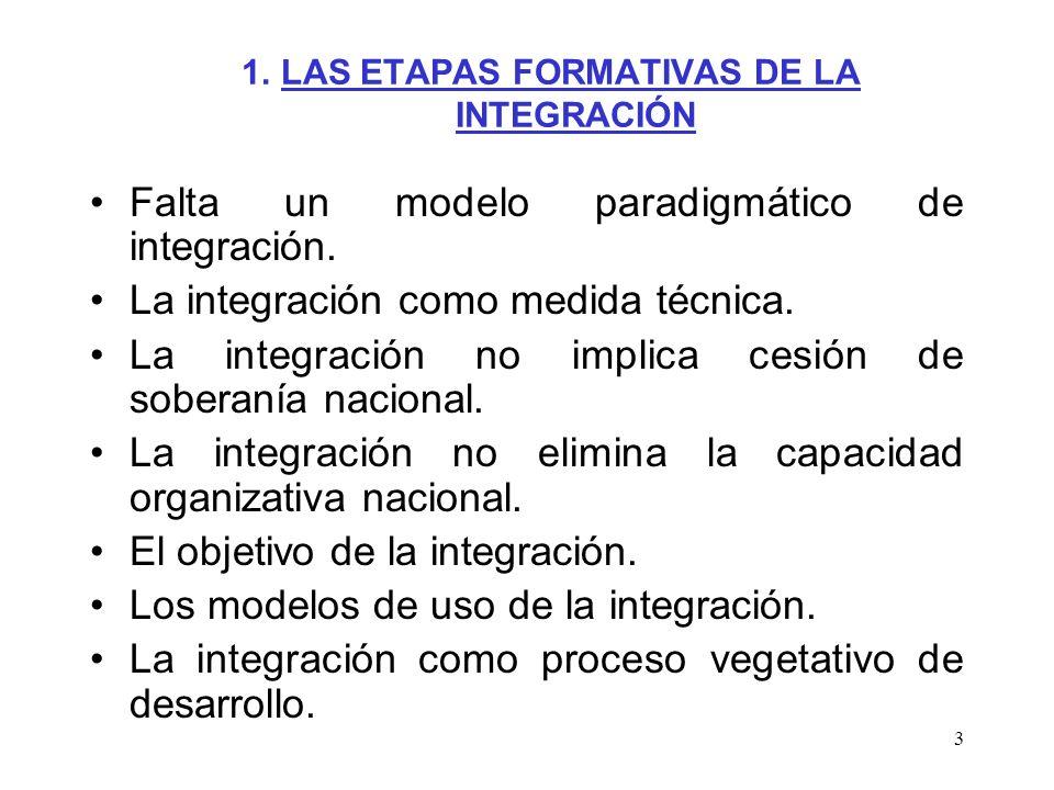 3 1. LAS ETAPAS FORMATIVAS DE LA INTEGRACIÓN Falta un modelo paradigmático de integración. La integración como medida técnica. La integración no impli