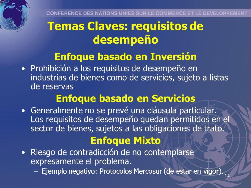 14 Temas Claves: requisitos de desempeño Enfoque basado en Inversión Prohibición a los requisitos de desempeño en industrias de bienes como de servicios, sujeto a listas de reservas Enfoque basado en Servicios Generalmente no se prevé una cláusula particular.