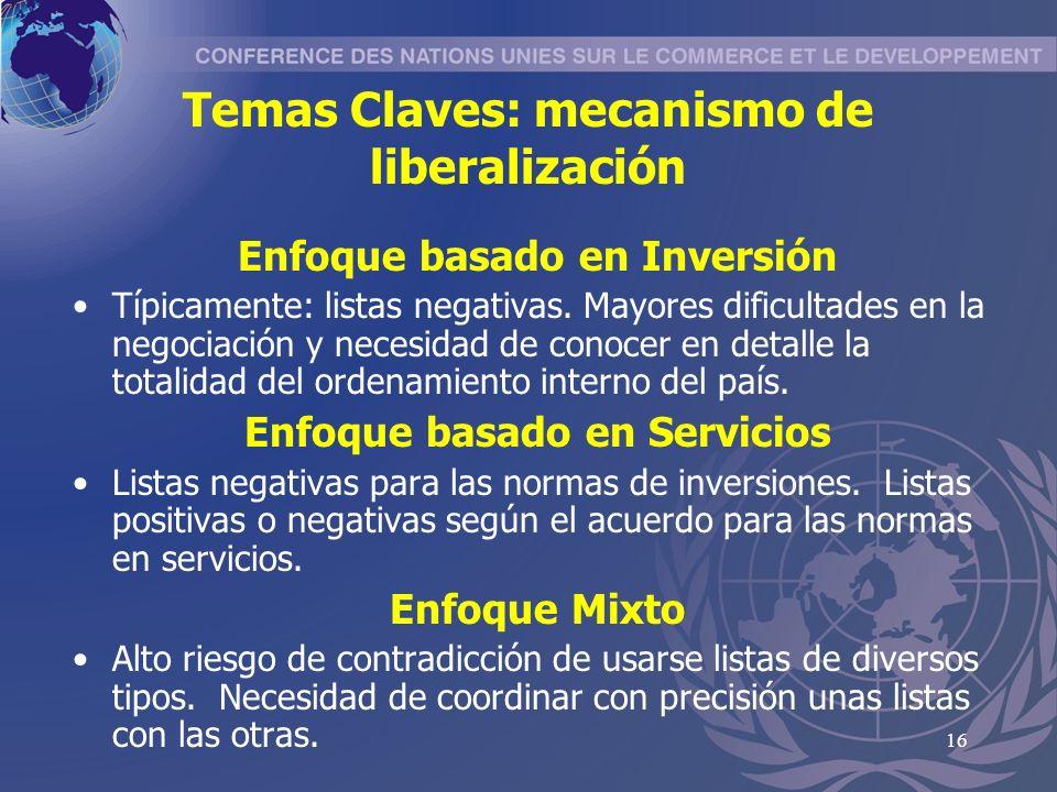 16 Temas Claves: mecanismo de liberalización Enfoque basado en Inversión Típicamente: listas negativas.