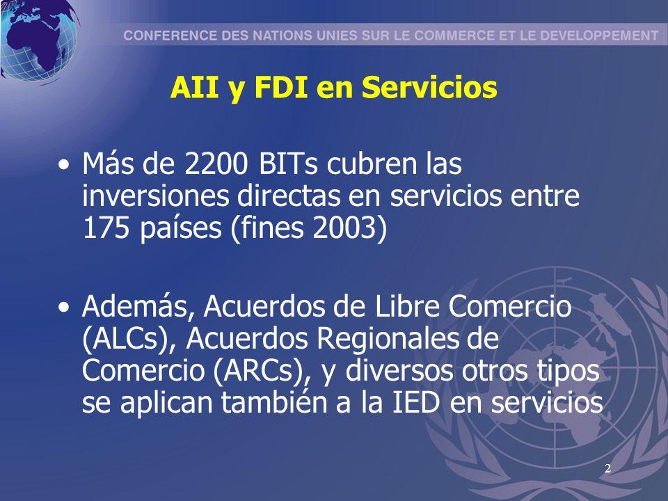 2 AII y FDI en Servicios Más de 2200 BITs cubren las inversiones directas en servicios entre 175 países (fines 2003) Además, Acuerdos de Libre Comercio (ALCs), Acuerdos Regionales de Comercio (ARCs), y diversos otros tipos se aplican también a la IED en servicios