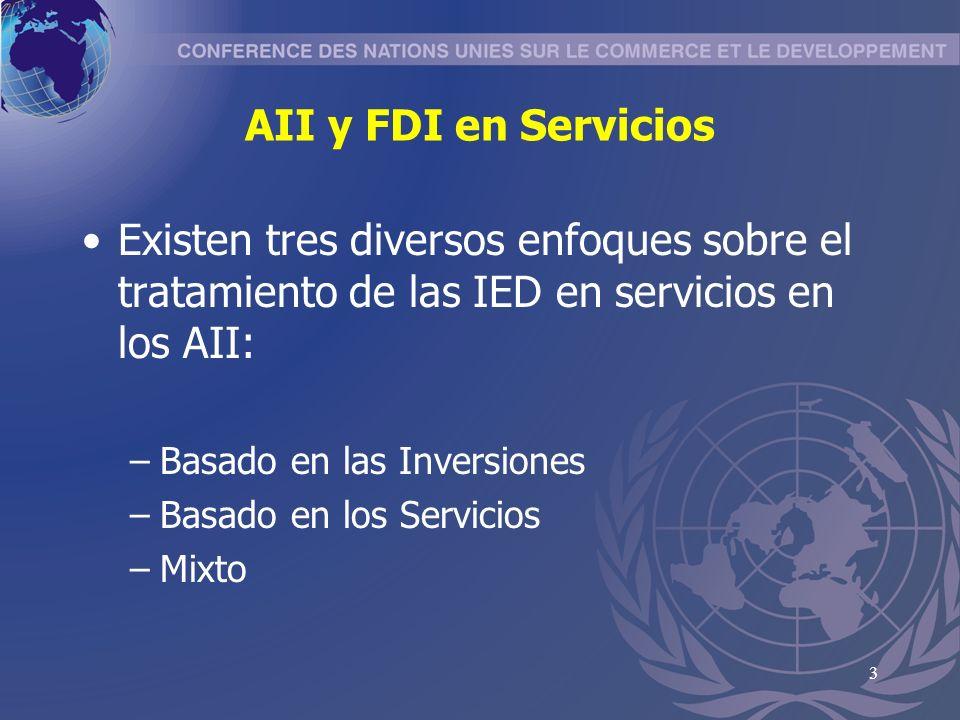 4 Enfoque basado en Inversiones La IED en Servicios está cubierta por las normas generales sobre Inversión Extranjera –No diferencia entre inversiones en servicios y otros sectores –Ej: NAFTA, BITs, –Ej: Mexico - Japón, Capítulo Servicios, Art.