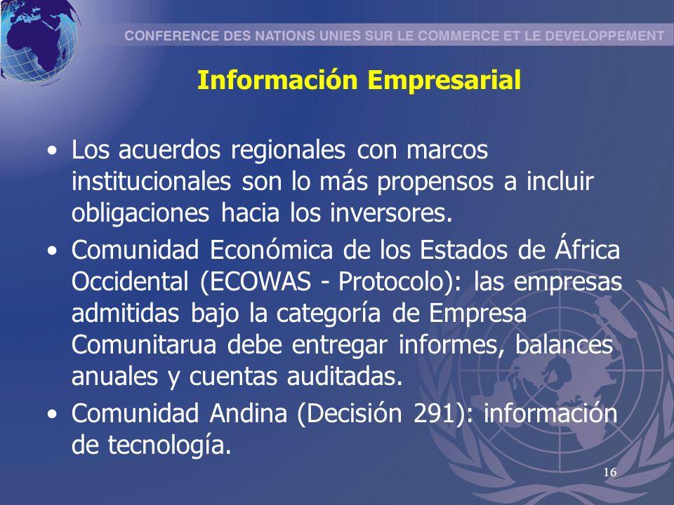 16 Información Empresarial Los acuerdos regionales con marcos institucionales son lo m á s propensos a incluir obligaciones hacia los inversores.