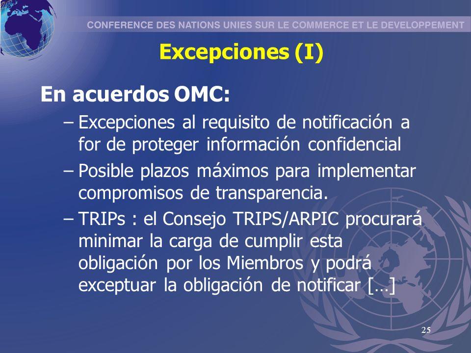 25 Excepciones (I) En acuerdos OMC: –Excepciones al requisito de notificaci ó n a for de proteger informaci ó n confidencial –Posible plazos m á ximos para implementar compromisos de transparencia.
