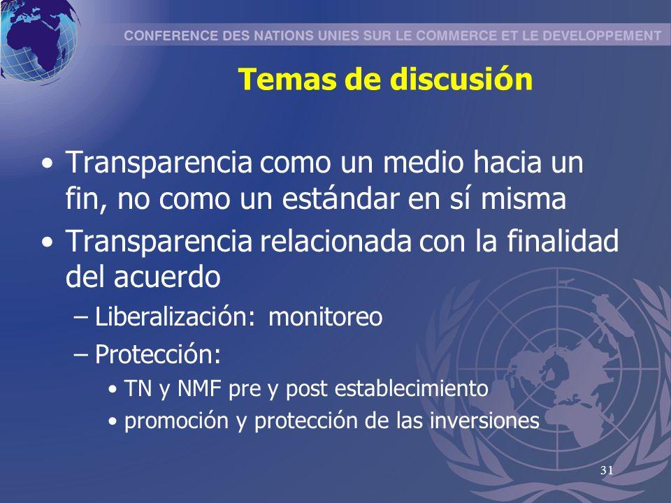 31 Temas de discusi ó n Transparencia como un medio hacia un fin, no como un est á ndar en s í misma Transparencia relacionada con la finalidad del acuerdo –Liberalizaci ó n: monitoreo –Protecci ó n: TN y NMF pre y post establecimiento promoci ó n y protecci ó n de las inversiones