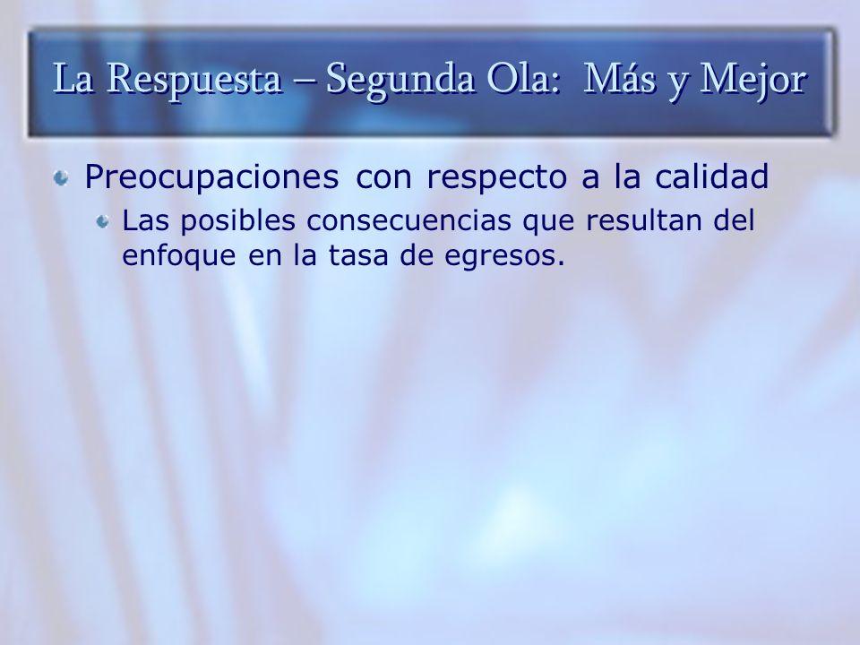 La Respuesta – Segunda Ola: Más y Mejor Preocupaciones con respecto a la calidad Las posibles consecuencias que resultan del enfoque en la tasa de egr